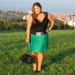 GREEN PLATED SKIRT